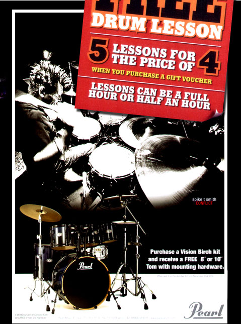 Free drum lesson, 5 lessons for the price of 4 when you purchase a gift voucher. Lessons can be a full hour or half an hour.
